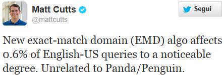 Secondo annuncio del Google EMD Update