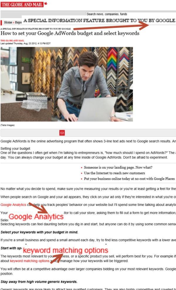 Advertorial su Google AdWords