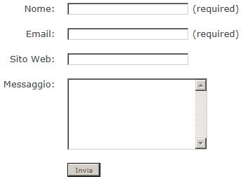 Il modulo di contatto del TagliaBlog