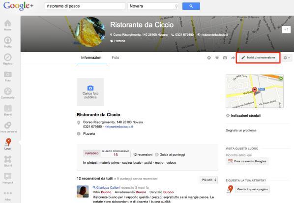 Dettaglio di una scheda Local su Google+