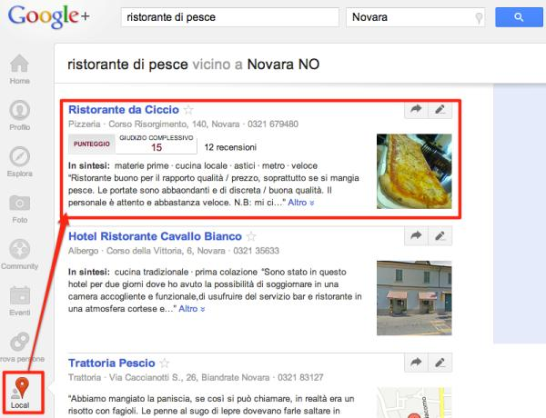 SERP con risultati geolocalizzati su Google+