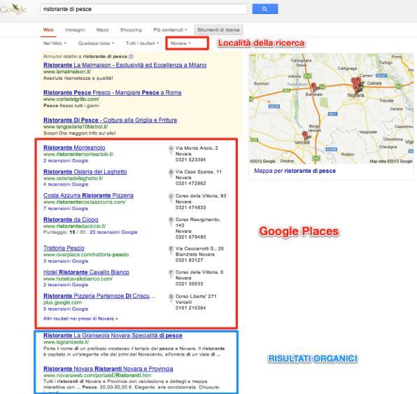 SERP con risultati geolocalizzati su Google