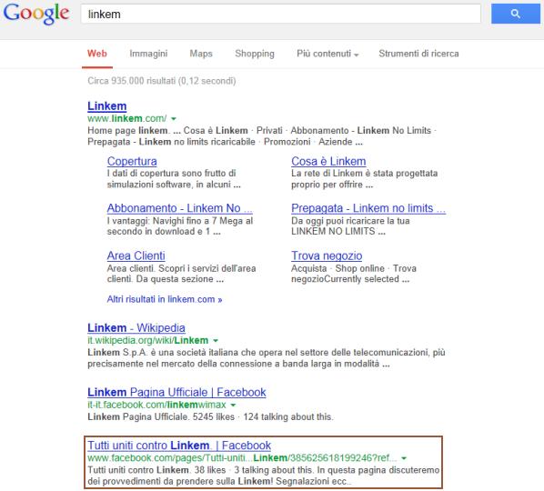 Cattiva reputazione in una SERP di Google