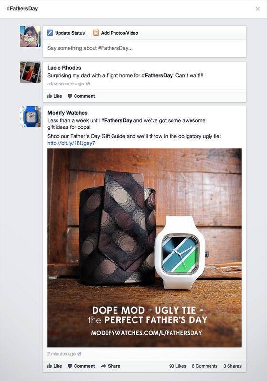 Esempio di Facebook Hashtag