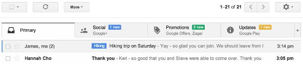 La nuova inbox di Gmail, versione desktop