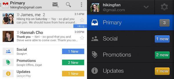 La nuova inbox di Gmail, versione mobile