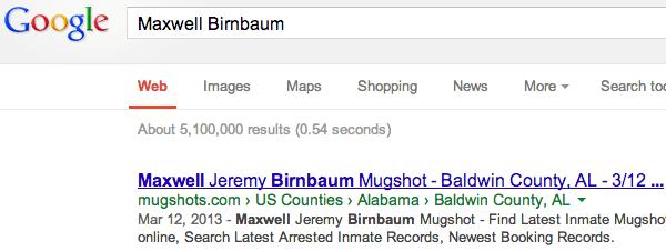 Esempio di mugshot site nelle SERP di Google