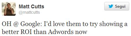 Il tweet del finto Matt Cutts