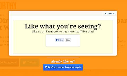 Il pop-up su Upworthy