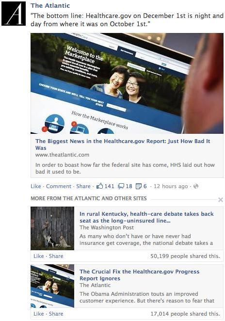 Gli articoli correlati su Facebook