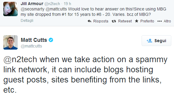 Il tweet di Matt Cutts che spiega le 2 facce della penalizzazione