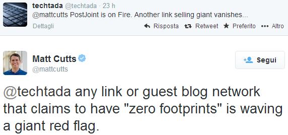 Il tweet di Matt Cutts che conferma la penalizzazione di PostJoint