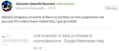 Il post di Giacomo Gnecchi Ruscone su Google+ circa i link innaturali in Italia