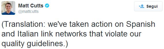Il retweet di Matt Cutts che traduce quello di Giacomo Gnecchi Ruscone sui link innaturali in Italia