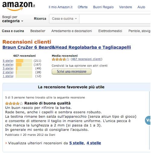 Una pagina di Amazon