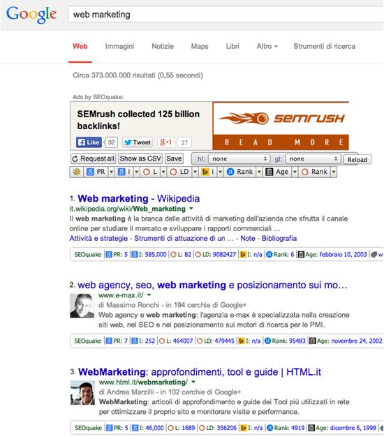 Ricerca di web marketing utilizzando SEOquake
