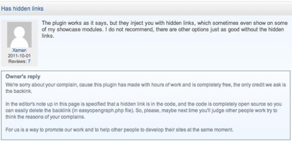 Risposta alla lamentela circa il plugin Easy Open Graph su extensions.joomla.org