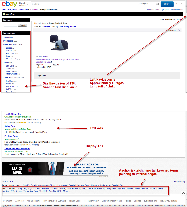 Caratteristiche di alcune pagine di eBay