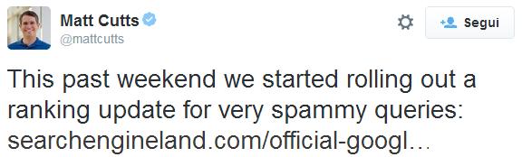 Il tweet di Matt Cutts che annuncia il Google Payday Loan 2.0