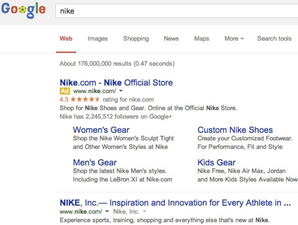 Una ricerca su Google per il brand Nike