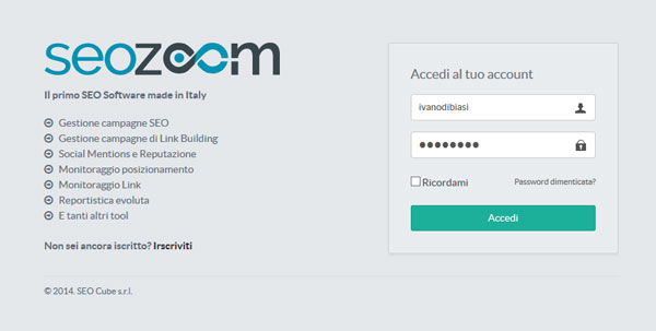 La schermata di login in SEO Zoom