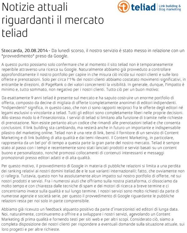 Il comunicato stampa di Teliad