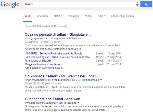 Il sito di Teliad scomparso da Google