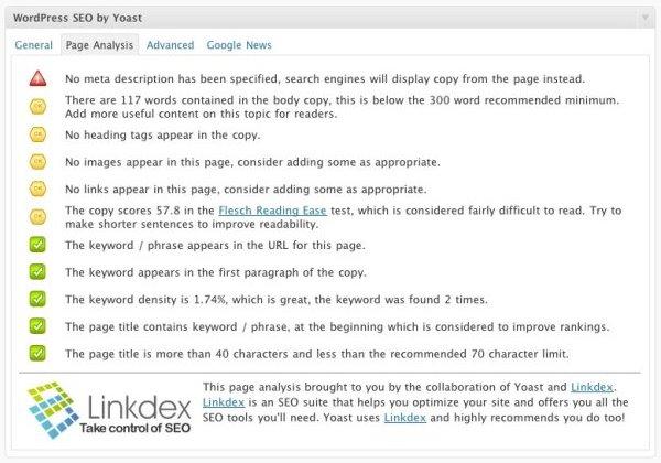 L'analisi della pagina di Yoast