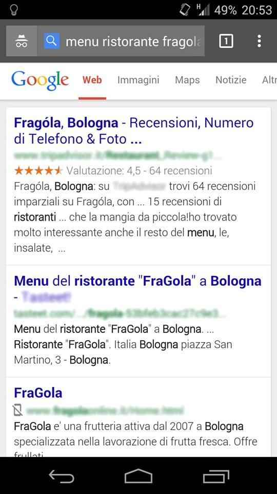 L'icona del telefonino barrato nelle SERP di Google