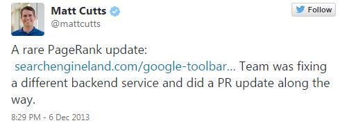 Matt Cutts annuncia l'aggiornamento del PageRank