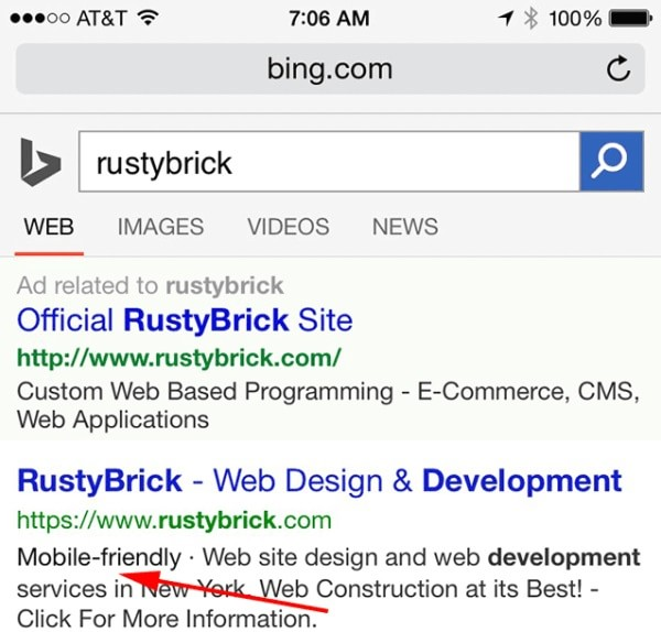 Mobile Friendly compare anche su Bing