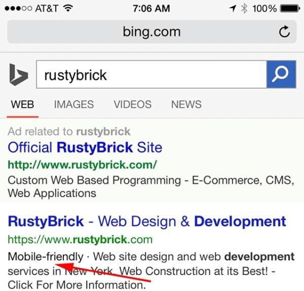Mobile Friendly compare anche su Bing