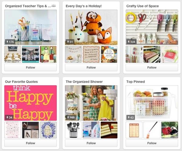 Esempi di board su Pinterest