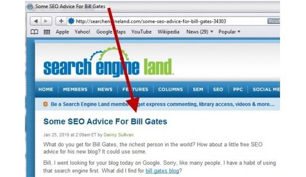 Il title mostrato nella barra del browser