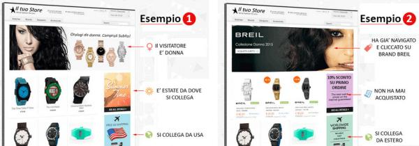 Personalizzazione del sito in base all'utente