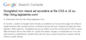 La notifica di Google su CSS e JavaScript bloccati nel robots.txt