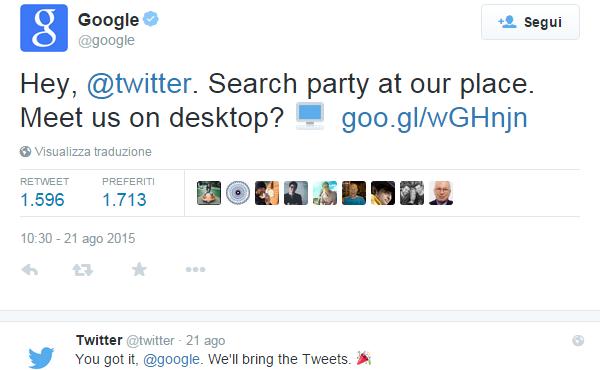 Il tweet con cui Google annuncia l'integrazione di Twitter