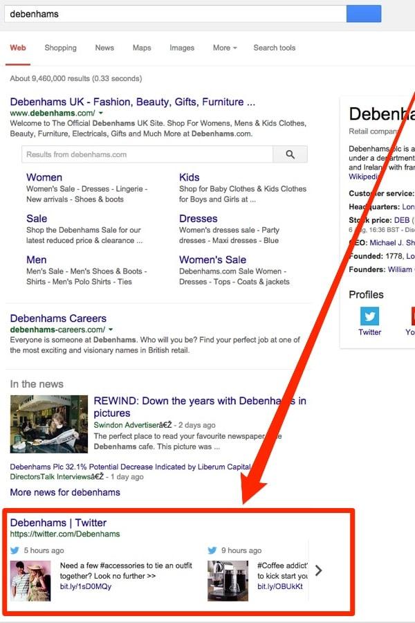 Twitter nelle ricerche desktop di Google