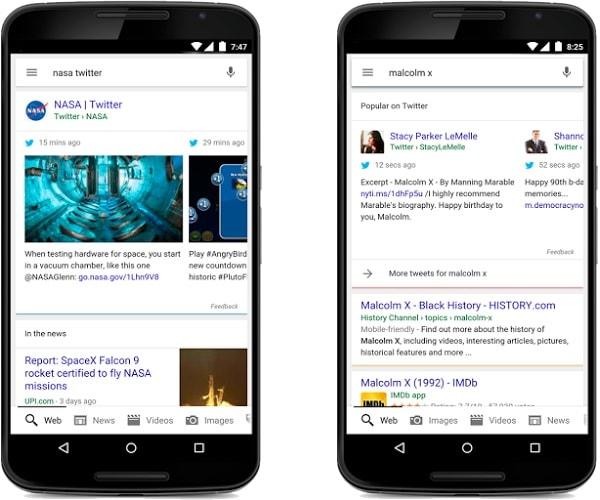 Twitter nelle ricerche mobile di Google
