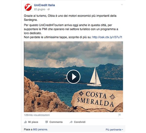 Video su Facebook di Unicredit Banca