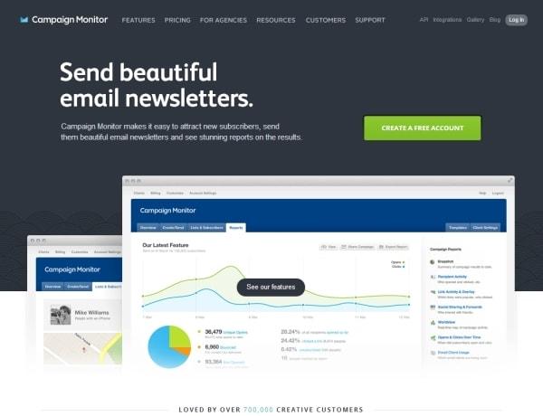 Landing page di Campaign Monitor