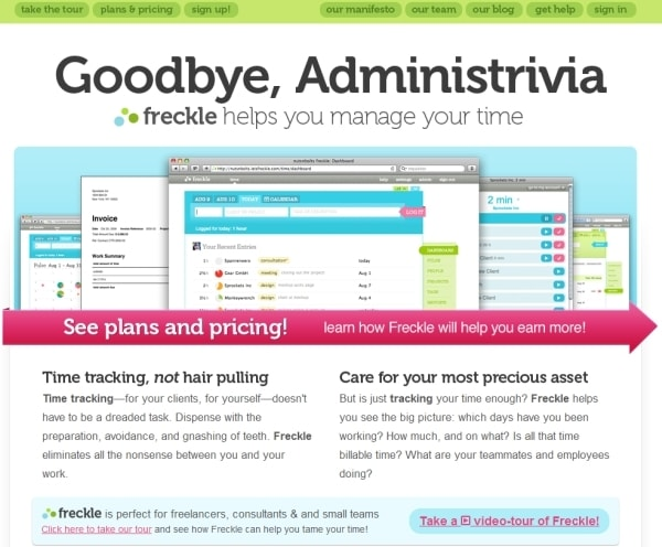 Landing page di Freckle