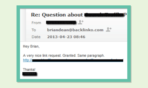 Risposta all'email per ottenere link