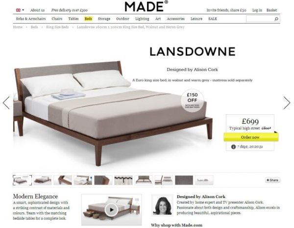 Scheda prodotto di un letto