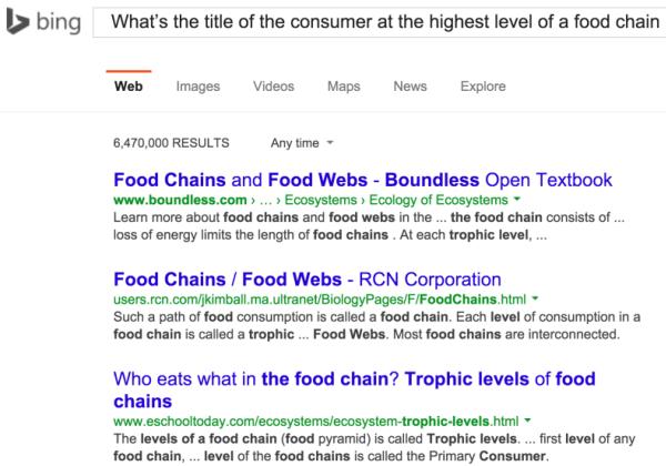 Un esempio di risposta di RankNet di Bing