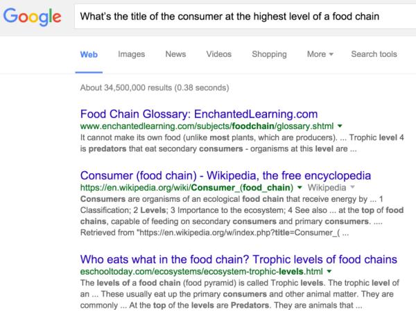 L'esempio di Google RankBrain fornito a Bloomberg