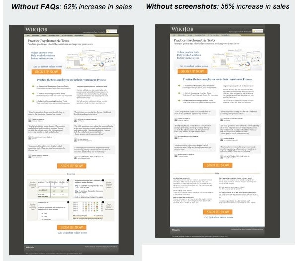 A/B test con copy lungo vs. corto