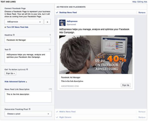 Esempio di Facebook Ad