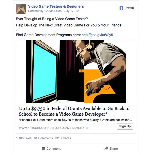 Esempio di banner Facebook con titolo sbagliato