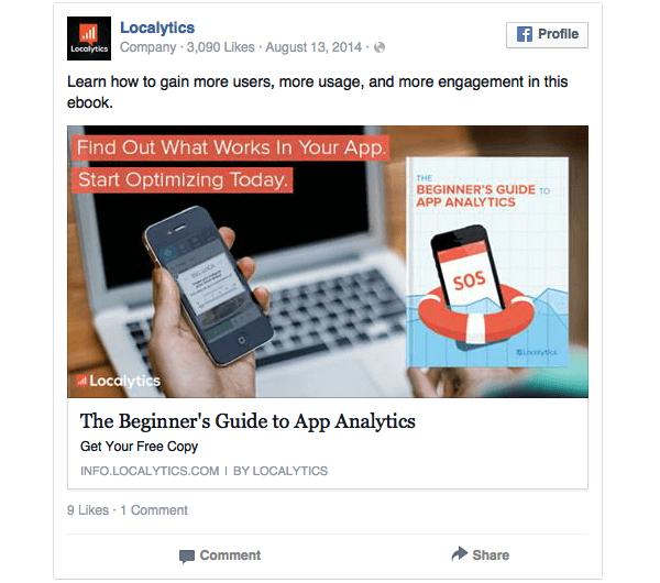 Banner Facebook che punta ad una landing page